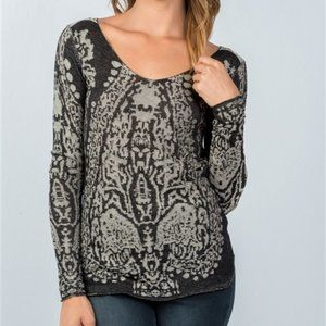 Beulah Gray Textured Print L/S Top - S